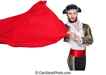 Matador throwing a red cape - Matador throw a red cape....