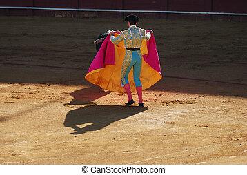 matador, y, toro, en, el, bullfight, arena, en, sevilla, spain.