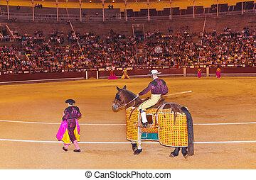 Matadors in bullfighting arena at Madrid