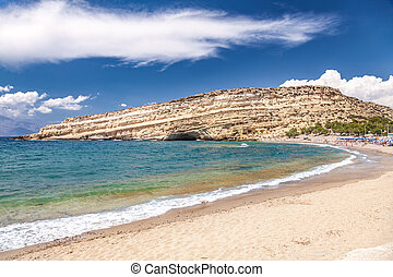 Matala beach and lagoon Crete Greece - Matala beach and...