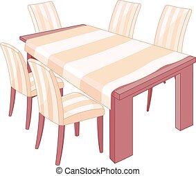 Restaurang, stol, bord. Prydd middag, sättande tabell, stol