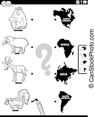 Black and White Cartoon Illustration of Educational Matching Game for Kids with Animal Species Characters and Continent Shapes Coloring Book Page