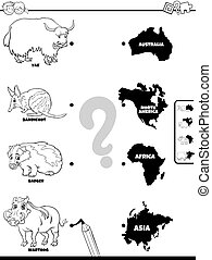 match animals and continents game coloring book - Black and ...
