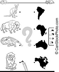 match animals and continents task color book - Black and ...