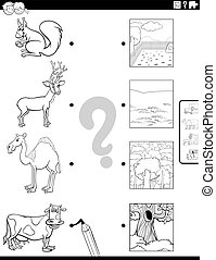 Black and White Cartoon Illustration of Educational Matching Game for Children with Animal Species Characters and their Environments Coloring Book Page