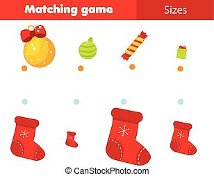 Match by size educational children game. Kids activity for Christmas and New Year