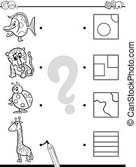 match elements coloring game - Black and White Cartoon...