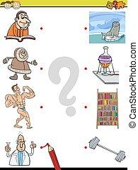 match elements education game - Cartoon Illustration of...