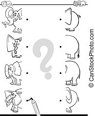 match elephants coloring page - Black and White Cartoon...