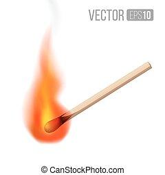 Match - Vector burning match sticks on white background....