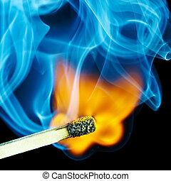Match flame and smoke