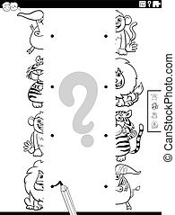 Black and White Cartoon Illustration of Educational Task of Matching Halves of Pictures with Comic Wild Animal Characters Coloring Book Page