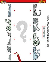 match halves of cats educational game