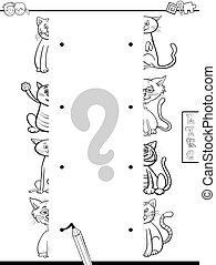 match halves of cats game coloring book - Black and White...