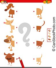 match halves of dogs educational game