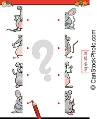 match halves of mice cartoon game - Cartoon Illustration of...