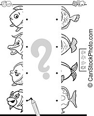 match halves of pictures with fish game color book - Black...