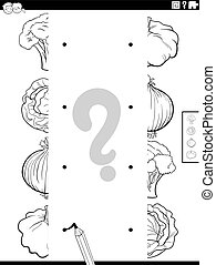 Black and White Cartoon Illustration of Educational Task of Matching Halves of Pictures with Vegetables Coloring Book Page