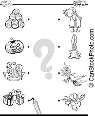match holidays educational coloring book - Black and White...