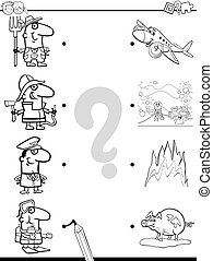 match images coloring game - Black and White Cartoon...