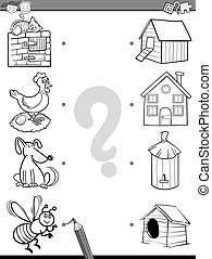 match items coloring book - Black and White Cartoon...