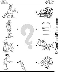 match men and objects coloring book - Black and White...