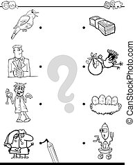 match objects educational coloring book - Black and White...