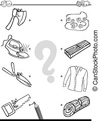 match objects educational coloring page - Black and White...