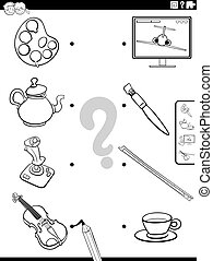 Black and White Cartoon Illustration Cartoon Illustration of Educational Matching Game for Children with Objects Coloring Book Page