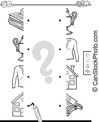 match objects halves coloring page - Black and White Cartoon...