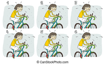 Match Pairs Visual Game: Bike. Task: find two identical...