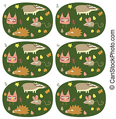 Match Pairs Visual Game: Forest Animals. Task: find two...