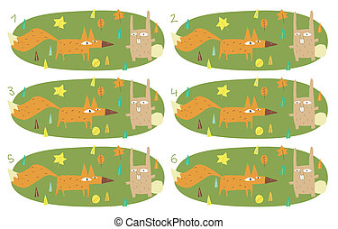 Match Pairs Visual Game: Foy and Rabbit. Task: find two...