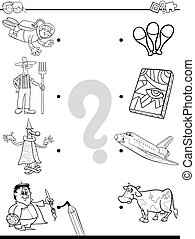 match people and objects coloring book - Black and White...