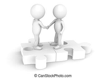 Match - 3d little human character X2 shaking hands on a...
