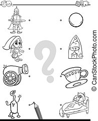 match pictures coloring page - Black and White Cartoon...