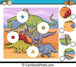 Cartoon Illustration of Match the Pieces Education Game for Preschool Children