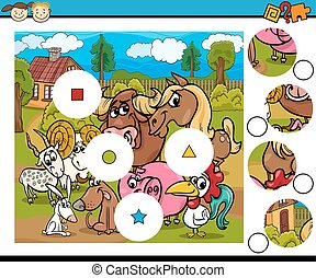 match pieces game cartoon - Cartoon Illustration of Match ...