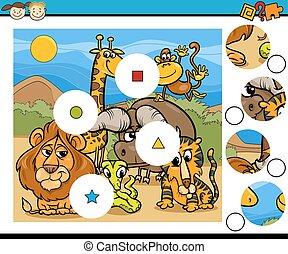 match pieces game cartoon - Cartoon Illustration of Match...