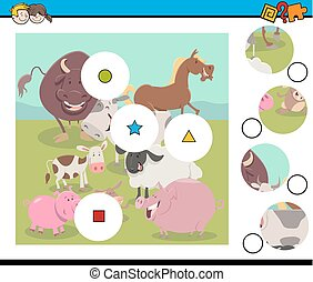 match pieces game with farm animals