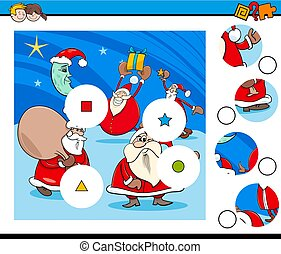 Cartoon Illustration of Educational Match the Pieces Jigsaw Puzzle Game for Children with Santa Claus Christmas Characters