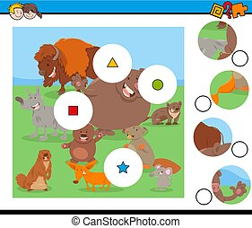 match pieces puzzle with funny wild mammals - Cartoon...