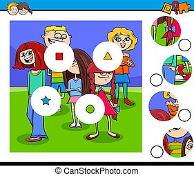 match pieces puzzle with kids group