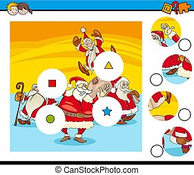 Cartoon Illustration of Educational Match the Pieces Jigsaw Puzzle for Children with Santa Claus Characters