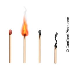 Match - Realistic brand new, burning and burnt match sticks...