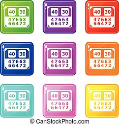 Match score board icons set 9 color collection