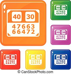 Match score board icons set vector color