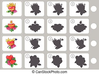 Match shadow - Worksheet for education - Match shadow puzzle...