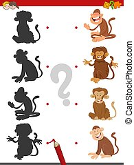 match shadows game with monkeys - Cartoon Illustration of...