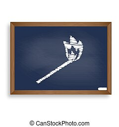 Match sign illustration. White chalk icon on blue school board w